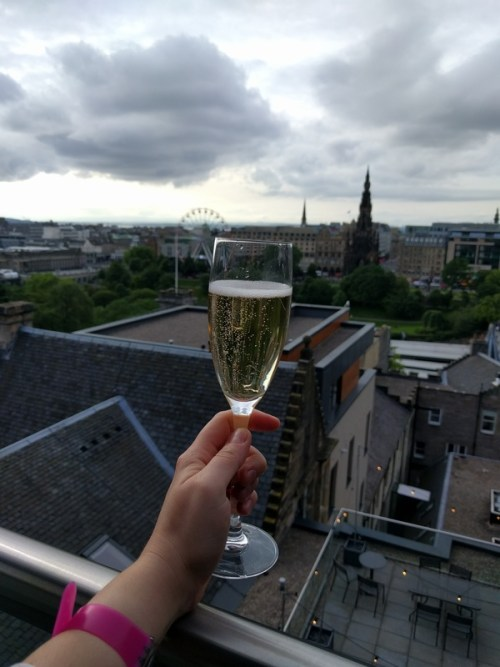 Champagne overlooking Edinburgh
