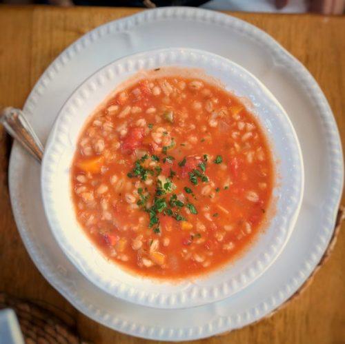 Tomato and barley soup.
