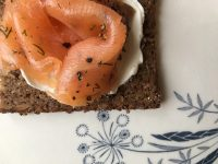 Smoked salmon, a delicious classic, on chewy rye bread. Photo by Caroline Rye, The Urban Fishwife.