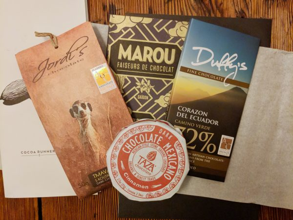 A haul of chocolate delights from Cocoa Runners (the TAZA was handmilled. A texture to get get used to. The Marou was simply fab.