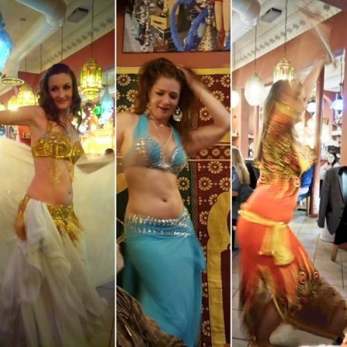 Shaking their stuff: Natalie, Lorna and Moyra demonstrates the art of the belly dance.