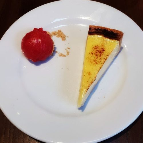 Tarte citron. Check out hte wobbble on that! The raspberry sorbet was good too.