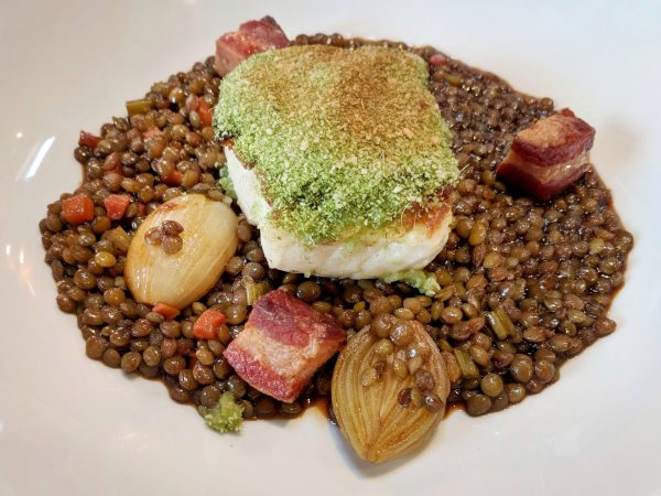 Roast cod and lentils: a very satisfying combination.
