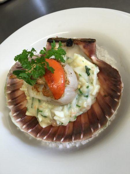 L'escargot bleu scallop and salted cod sauce ecossaise