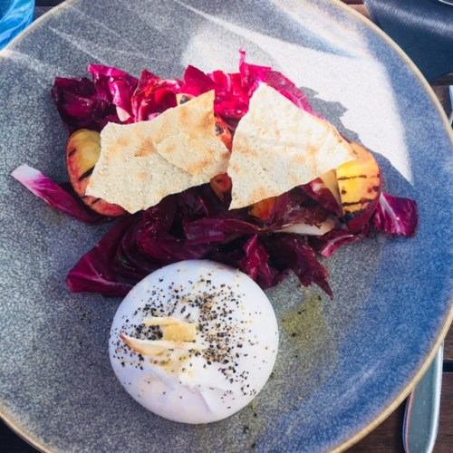 This starter of burrata, grilled peach, raddichio, with a honey dressing screams summer