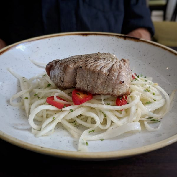 Seared tuna on a tangy mouli salad.