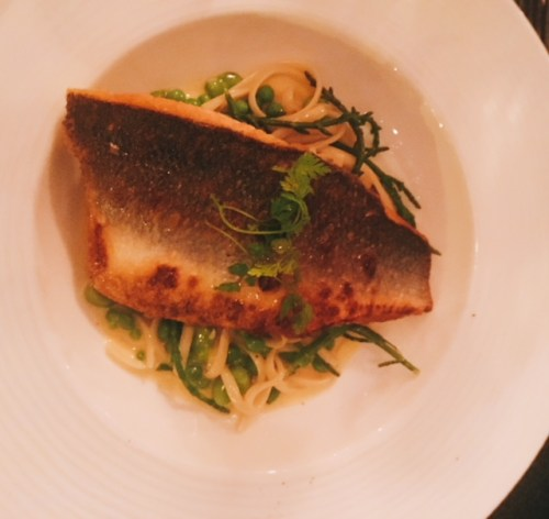 Roasted Fillet of Plaice, Fresh Peas and Samphire Linguine