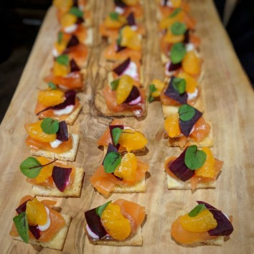 Gin-cured salmon canapés. Salmon to die for! St. Andrews Brewing Company.