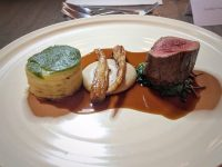 Venison with caramelised celeriac, brioche and herb crumb.