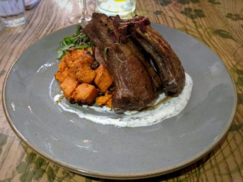 Moroccan lamb chops with mint yogurt, sweet potato and couscous.