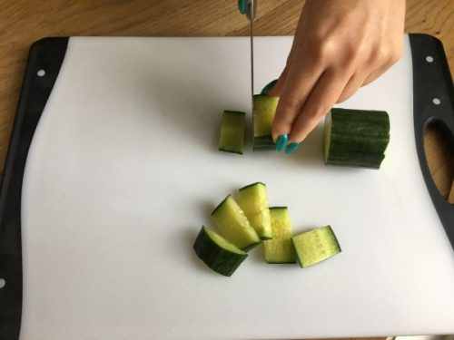 Cutting cucumbers - nails on point!