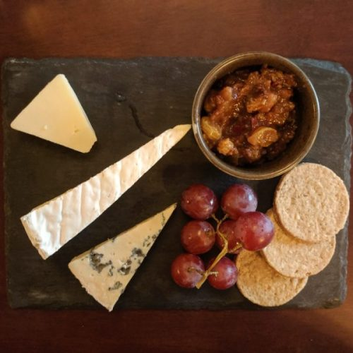 Cheese board! We didn't eat the chutney, but that's just us.