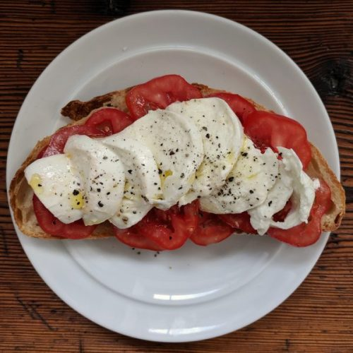 Tomato and Mozza open sandwich. I'm very good to myself.