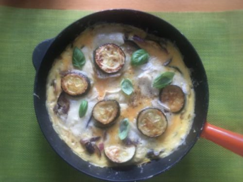 AUbergine, courgette and goats cheese tortilla - warming, filling and full of veg.