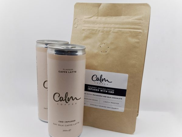 Calm's lattes and ground coffee contain CBD, if that's your thing.