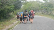 Walking to our ministry site with all our gear!