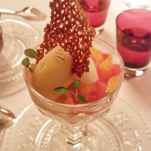 dessert coupe harcourt exquis argumes et verveine cristal room baccarat guy martin