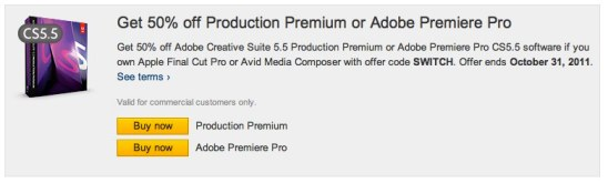 50% discount on Adobe Premiere Pro offer