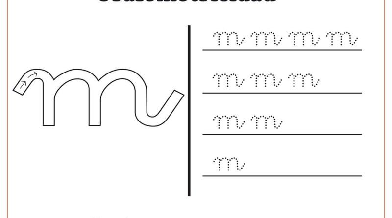 """Ficha de grafomotricidad con la letra """" M"""""""
