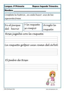ejercicios lengua primero primaria 20