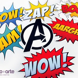 Cartazes Onomatopéias | Heróis Avengers