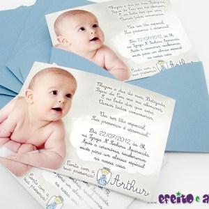 Convite 7x10cm com envelope | Batizado Arthur