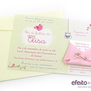 Convite com fraldinha em tecido | Chá da Elisa