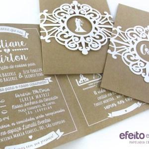 Convite em papel kraft com impressão em serigrafia + faixa externa com recorte laser | Cristiane & Lairton
