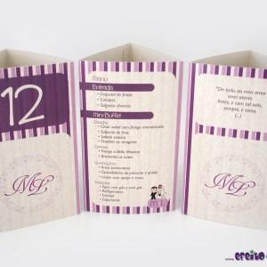 Tótens em papel reciclado 3 lados   Mariana & Leandro