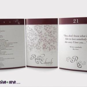 Tótens em papel metalizado 3 lados | Renata & Eduardo