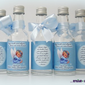 Garrafinhas de vidro 50ml com mini terço | Batizado Rafael