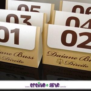 Numeradores de mesa 10x14cm em papel aspen | Direito