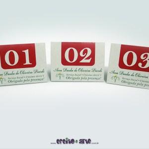 Numeradores de mesa 8x6cm em papel reciclado | Serviço Social