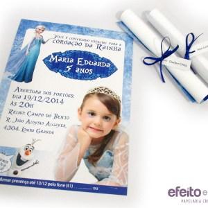 Convite 15x21cm pergaminho Frozen com fita azul