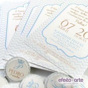 Convite 10x15 em papel metalizado | Príncipe