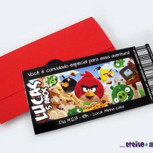Convite ingresso com envelope | Angry Brids