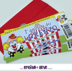 Convite ingresso com envelope | Circo