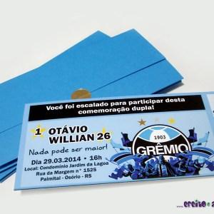 Convite ingresso com envelope | Grêmio