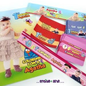Rótulos mini refrigerante, balas de goma, Bis, Stikadinho e papinha + Livrinho colorir 14x20cm | Galinha Pintadinha