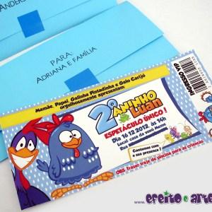 Convite ingresso com envelope + nomes dos convidados | Galinha Pintadinha