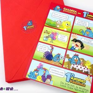 Convite história | Tamanho 15x21cm | Com envelope e adesivo personalizado | Galinha Pintadinha