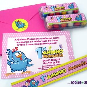 Convite 10x15cm com envelope + adesivo personalizado | Rótulos e caixinhas com ovinhos | Galinha Pintadinha