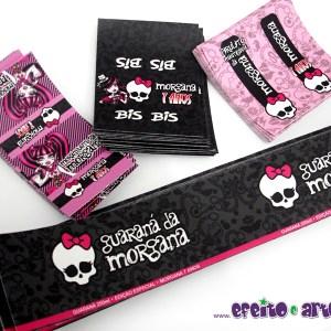 Rótulo mini refrigerante, Bis e pirulito mastigável | Monster High