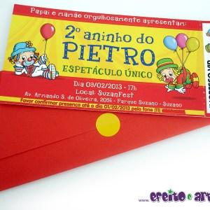 Convite ingresso com envelope | Patati Patatá