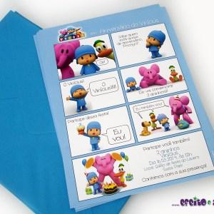 Convite história | Tamanho 15x21cm | Com envelope | Pocoyo