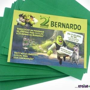 Convite 10x15cm com envelope | Shrek
