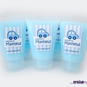 Bisnaga com loção hidratante | Lembrança nascimento Matheus