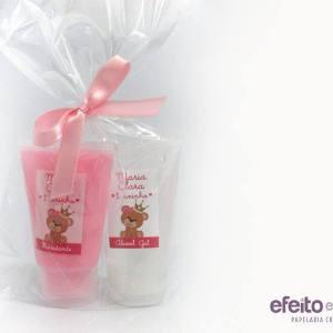 Kit bisnagas álcool gel e hidratante | Ursinha marrom e rosa coroa