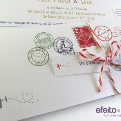 Convite retangular com dobra   Personalizado com carimbos de cidades, simulando passaporte