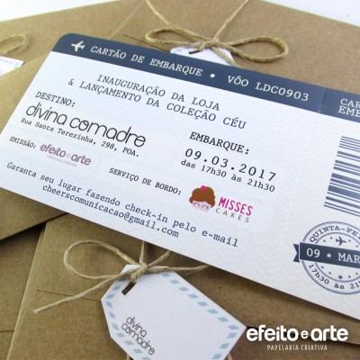 Convite Inauguração   Envelope kraft com tag de mala